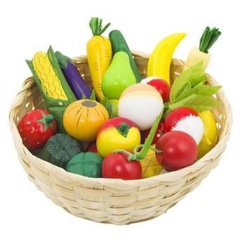 Dětský krámek – ovoce a zelenina v košíku, 23 ks