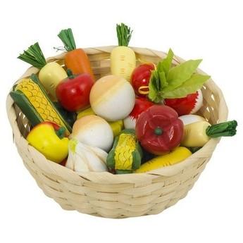 Pro holky - Dětský krámek – zelenina v košíku, 17 ks