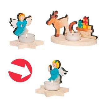 Výtvarné a kreativní hračky - Svícen na čajovou svíčku k vymalování - Anděl se svíčkou
