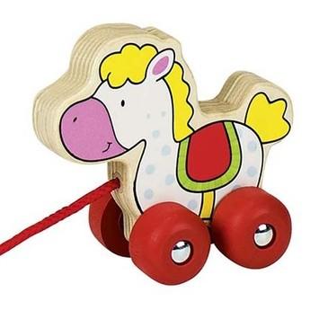 Pro nejmenší - Tahací hračka dřevěná – koník bělouš
