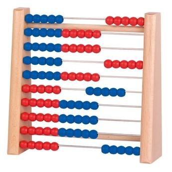 Školní potřeby - Počítadlo se 100 dřevěnými perličkami modrá a červená