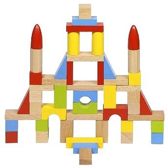 Kostky a stavebnice - Stavební kostky ze dřeva v tašce 50 ks