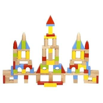 Kostky a stavebnice - Stavební kostky ze dřeva, přírodní i barevné 100 ks