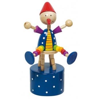 Motorické a didaktické hračky - Mačkací figurka – Cvičící klaun na modrém podstavci