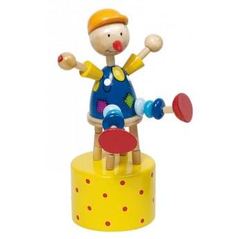 Motorické a didaktické hračky - Mačkací figurka – Cvičící klaun na žlutém podstavci