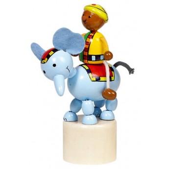 Motorické a didaktické hračky - Mačkací figurka – Jezdec na slonovi