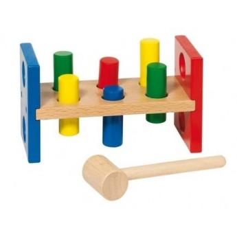 Motorické a didaktické hračky - Dřevěná zatloukačka – Oboustranná