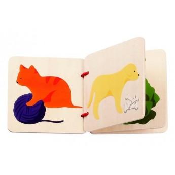 Pro nejmenší - Dřevěná knížka Kočka a ptáček