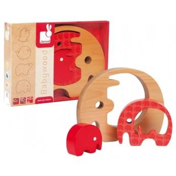 Motorické a didaktické hračky - Dřevěný slon