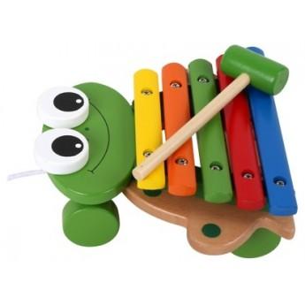Dětské hudební nástroje - Tahací Xylofon žába