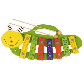 Dětské hudební nástroje - Xylofon housenka s popruhem