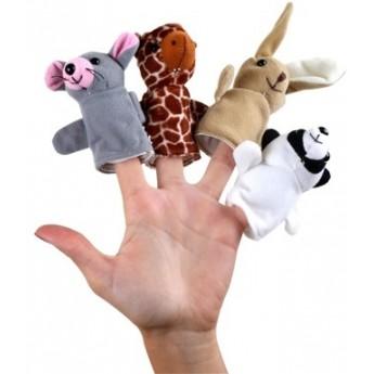 Divadla, loutky, maňásci - Sada prstových maňásků - zajíc, myšák, medvěd, žirafa