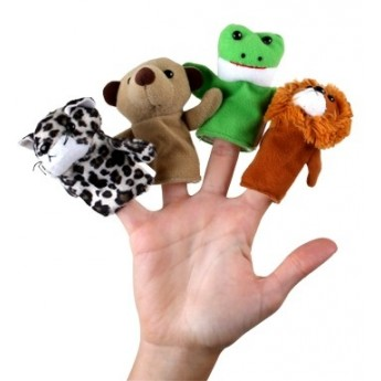 Sada prstových maňásků - tygr, žába, pes, lev