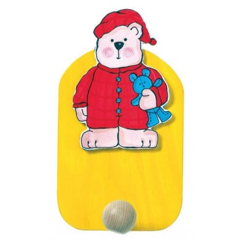 Dětský pokojíček - Věšák medvěd v pyžamu - 1 háček