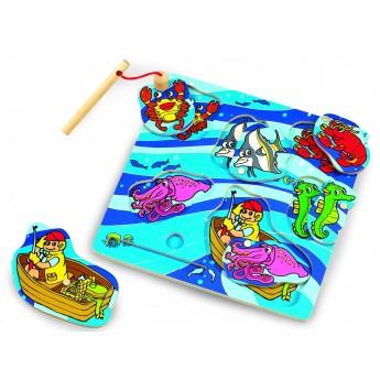 Motorické a didaktické hračky - Dřevěné puzzle chytání ryb