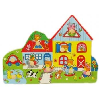 Dřevěné puzzle s úchyty Farma
