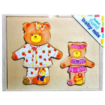 Puzzle - Puzzle šatní skříň Medvědí máma a dítě