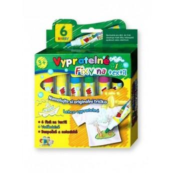 Výtvarné a kreativní hračky - Fixy na textil vypratelné 6 ks
