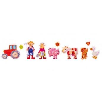 Motorické a didaktické hračky - Provlékací hračka – Farma, 10 dílů
