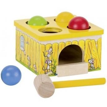 Motorické a didaktické hračky - Dřevěná zatloukačka – Chyť myšku!