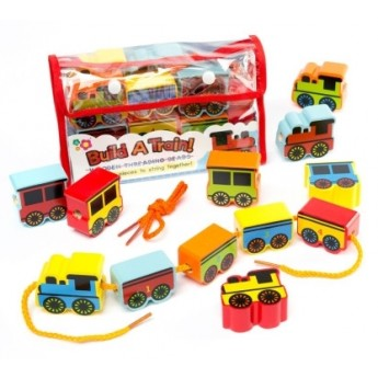 Motorické a didaktické hračky - Navlékací korálky Vláček