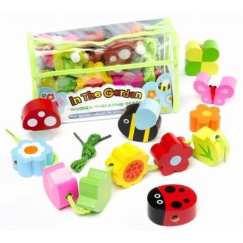 Motorické a didaktické hračky - Navlékací korálky Zahrada