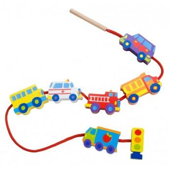 Motorické a didaktické hračky - Navlékací korálky Dopravní prostředky