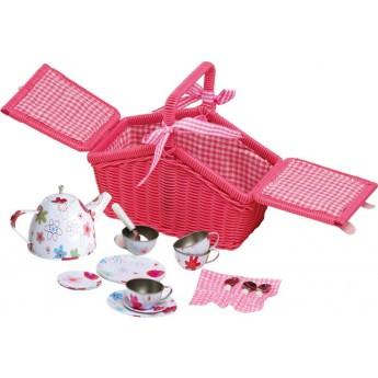 Pro holky - Piknikový košík s plechovým nádobím