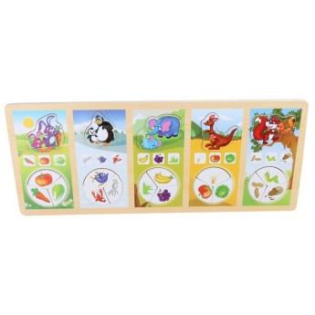 Puzzle - Kdo co jí? Slon, zajíc, tučňák, klokan, veverka