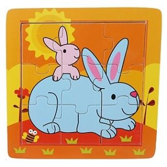 Puzzle - Puzzle v rámečku - Zvířecí rodina Králíčci