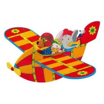 Dřevěné létající letadlo červené