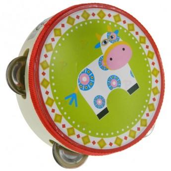 Dětské hudební nástroje - Dřevěná tamburína Kravička
