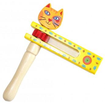 Dětské hudební nástroje - Dřevěná řehtačka Kočka