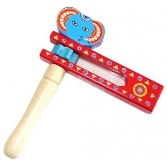 Dětské hudební nástroje - Dřevěná řehtačka Slon