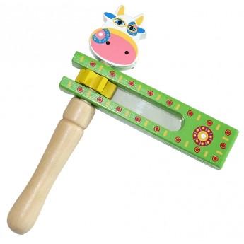 Dětské hudební nástroje - Dřevěná řehtačka Kravička