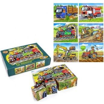 Dřevěné kostky Dopravní prostředky 12 kostek