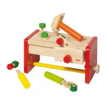 Pro kluky - Dřevěný stolek a přenosný box s nářadím v jednom, 16 dílů