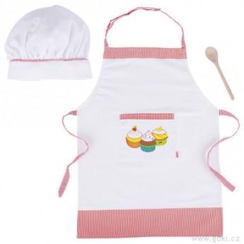 Goki Kuchyňská zástěrka, čepice a vařečka