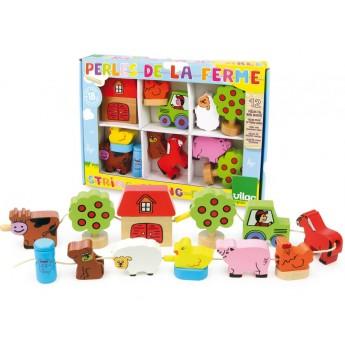 Motorické a didaktické hračky - Provlékání farma