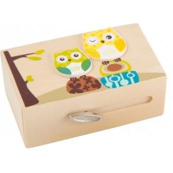Dětský pokojíček - Dřevěná hrací skříňka - Sovičky