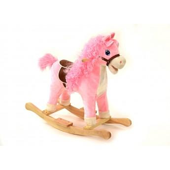 Houpací kůň se zvukem a pohyby růžový
