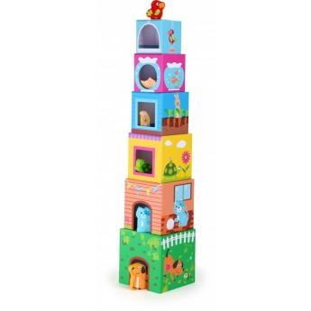 Kostky a stavebnice - Věž z kostek zvířátka