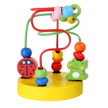 Motorické a didaktické hračky - Motorický labyrint korálky žlutý