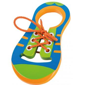 Motorické a didaktické hračky - Provlékací bota oranžovomodrá