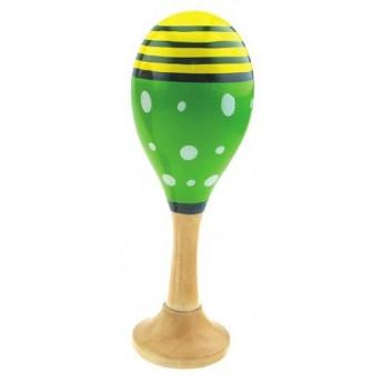 Dětské hudební nástroje - Dřevěná rumbakoule zelená 1 ks