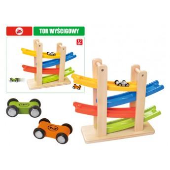 Motorické a didaktické hračky - Autodráha dřevěná barevná