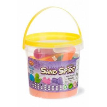 Výtvarné a kreativní hračky - Kinetický písek v kyblíku s formičkami, oranžový
