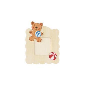 Výtvarné a kreativní hračky - Dřevěný rámeček na fotky k vymalování - Medvídek