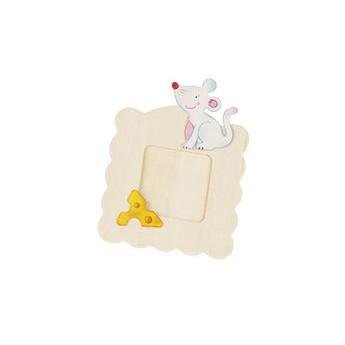 Výtvarné a kreativní hračky - Dřevěný rámeček na fotky k vymalování - Myška