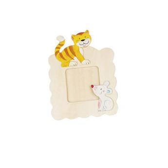 Výtvarné a kreativní hračky - Dřevěný rámeček na fotky k vymalování - Kočka